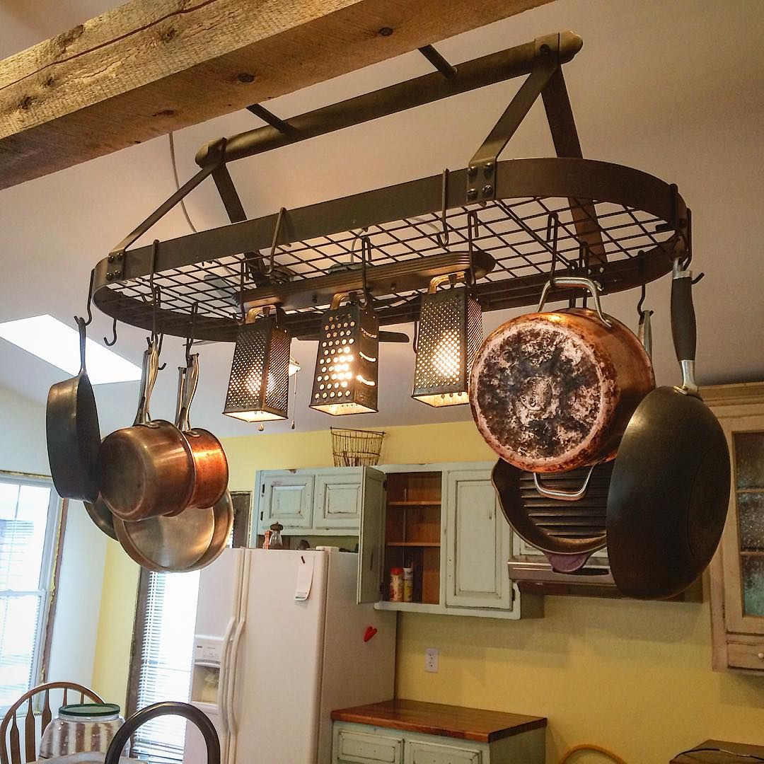 Hanging Pot Rack With Lights Kitchen Pinte