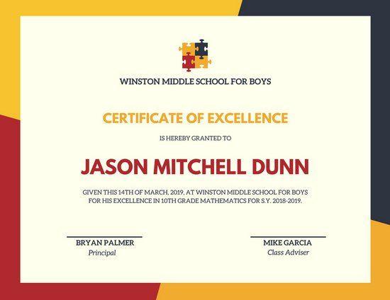 Colourful Puzzle Pieces Achievement Certificate Certificado - best of florida birth certificate sample