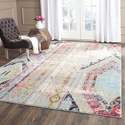 Safavieh Monaco Collection MNC222F Modern Bohemian Erased Weave Multicolored Area Rug (9' x 12')