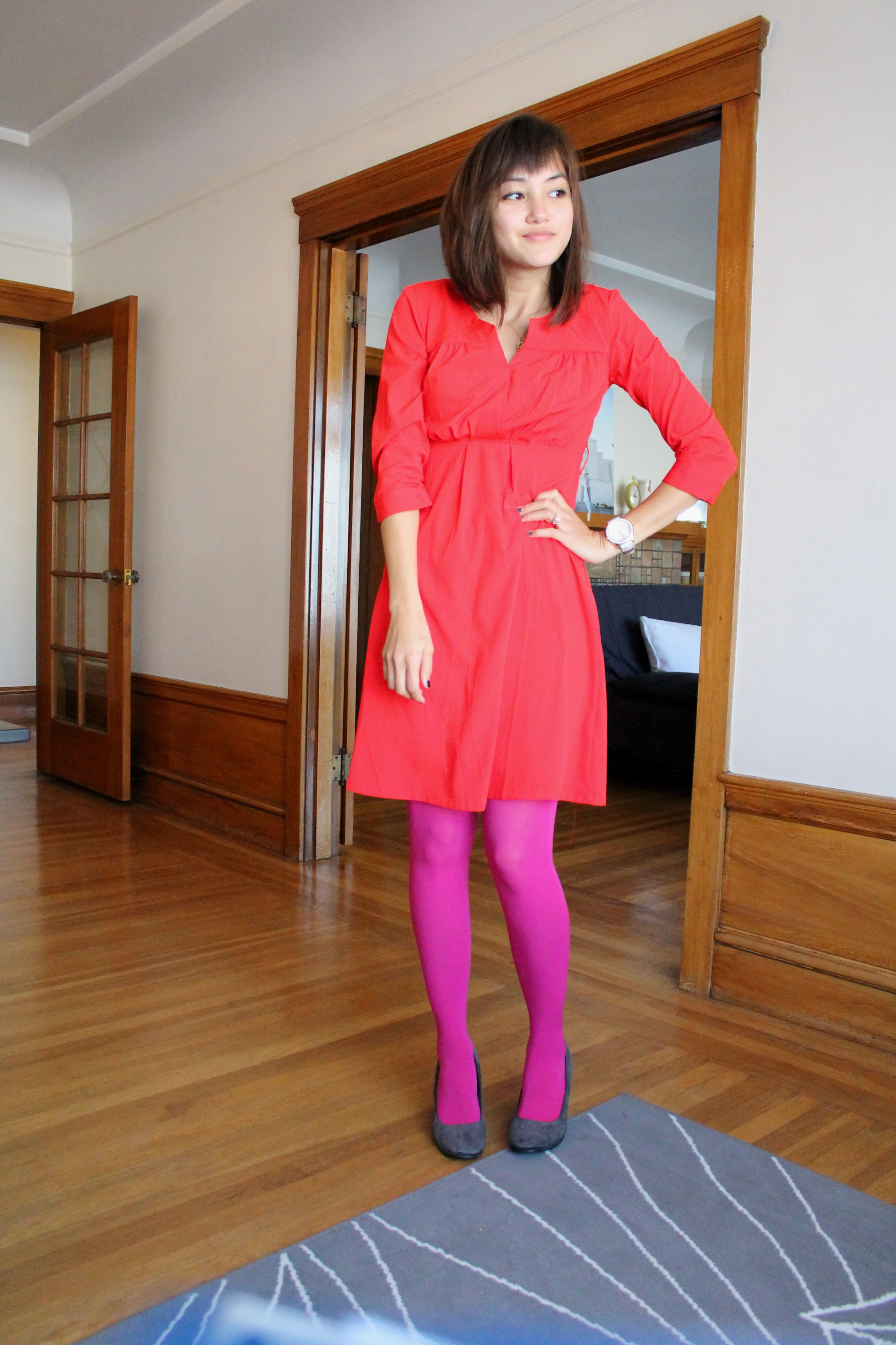 Red Dress Pink Opaque Tights Pink Fuschia Coral