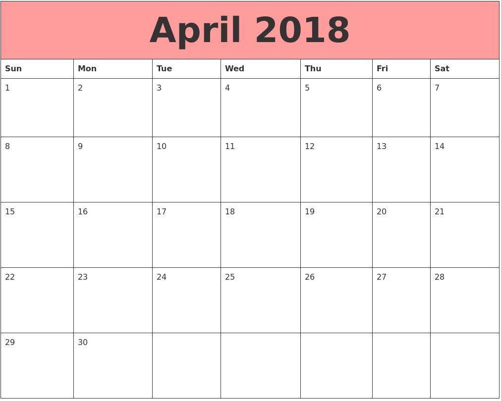 Free Editable April  Calendar  Calendar