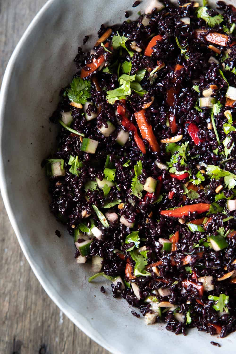 Black Rice Salad With Spicy Toasted Sesame Dressing The Minimalist Vegan Recipe In 2021 Black Rice Salad Rice Recipes Vegan Rice Salad