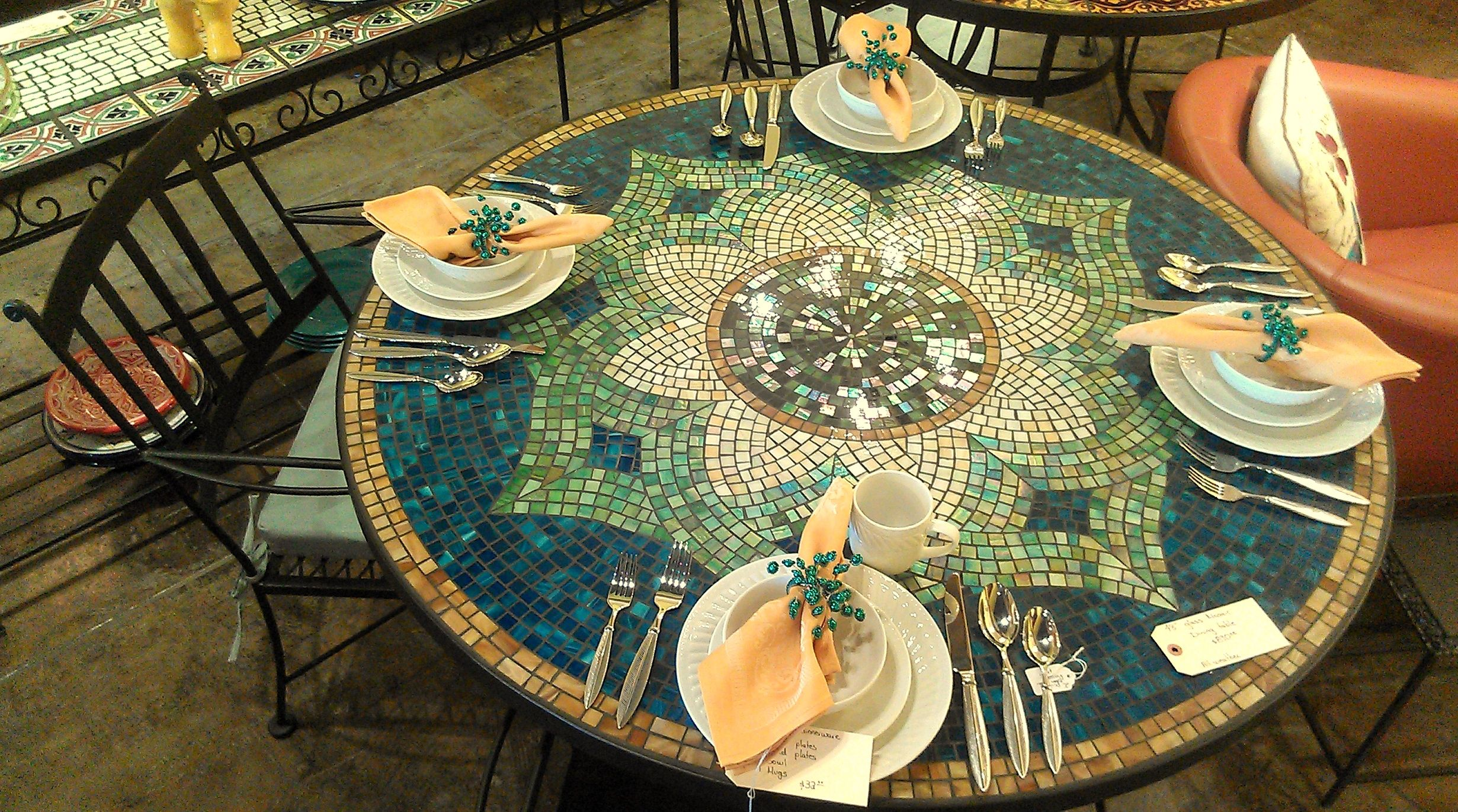 Mosaic Dining Table Fancy For Inspirational Home Decorating With