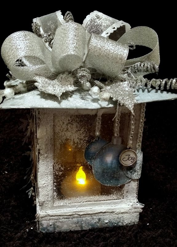 Christmas Lantern with tealight created with Kaisercraft Silver Bells Paper Collection, Sizzix Tim Holtz Window Die and embellishments from my2angels
