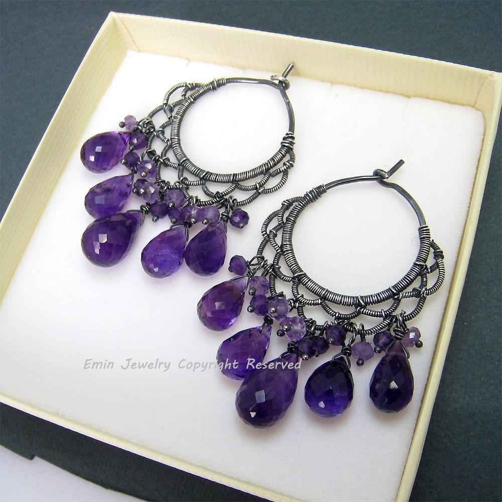 Himawari Earrings - Purple Amethyst Oxidized Silver Handmade Wire ...