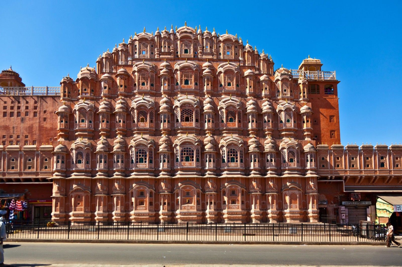 Hawa mahal designed as a beehive castle with small windows has a height of 50 feet from its Home architecture in jaipur