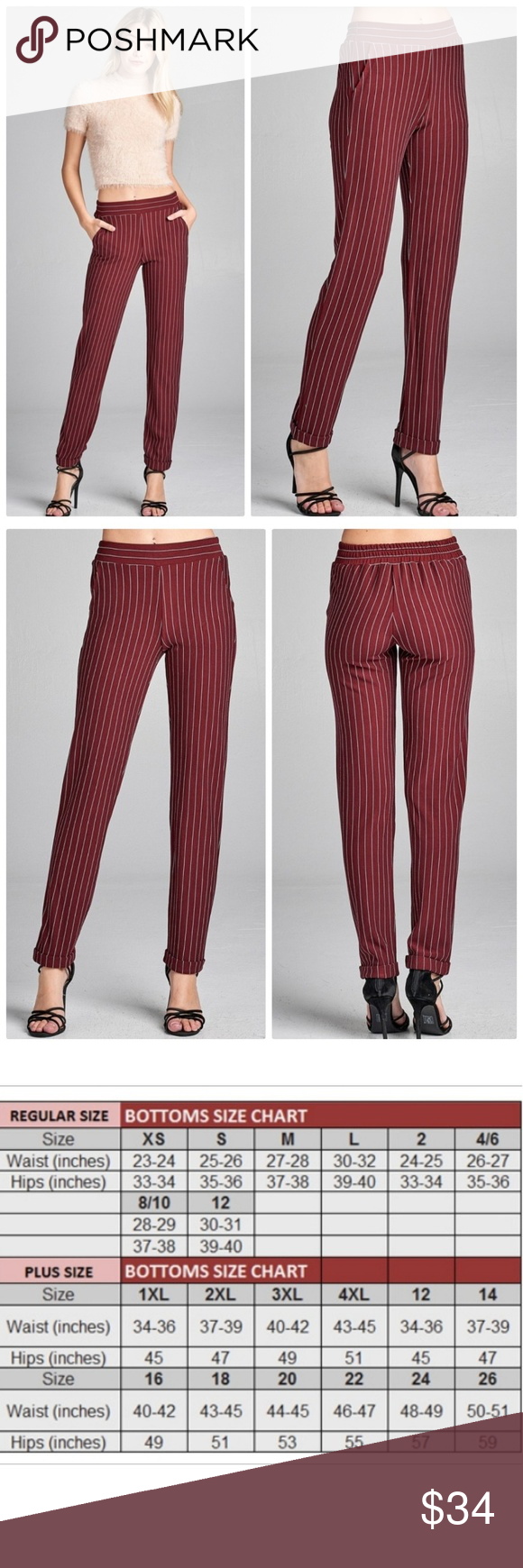 How To Hem Pants With A Cuff Deep Red Pin Stripe Elastic Waist Cuff Hem Pants Deep Red Pin Stripe Elastic Waist Cuff Hem Pants 76 Rayon 21 Polyester 3 Spandex My Posh Picks Jeans