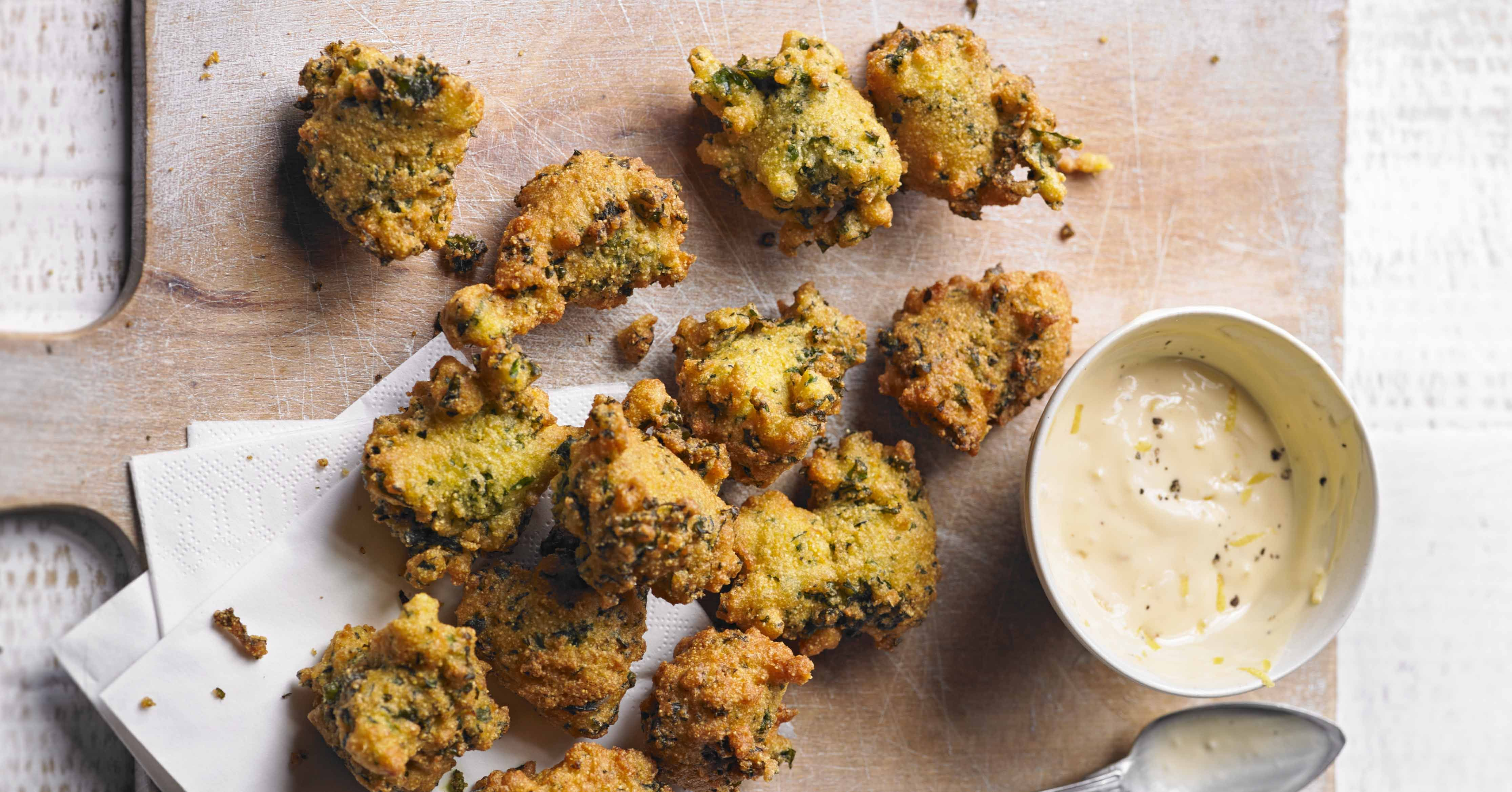 Our kale hush puppies are a greener alternative to a drinks party snack. The lemon aïoli adds a creamy and zesty touch and makes them all the more easy to go down.