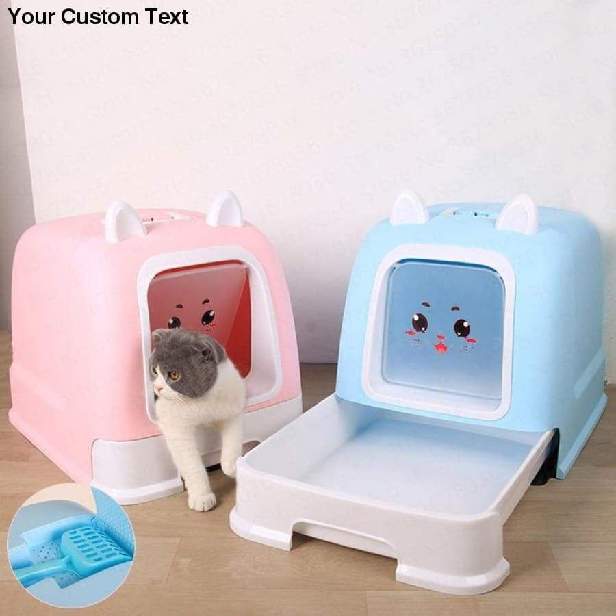 Pink Fully Enclosed Cat Litter Box Deodorant Anti Splash Large Cat Toilet In 2020 Cat Toilet Litter Box Cat Supplies