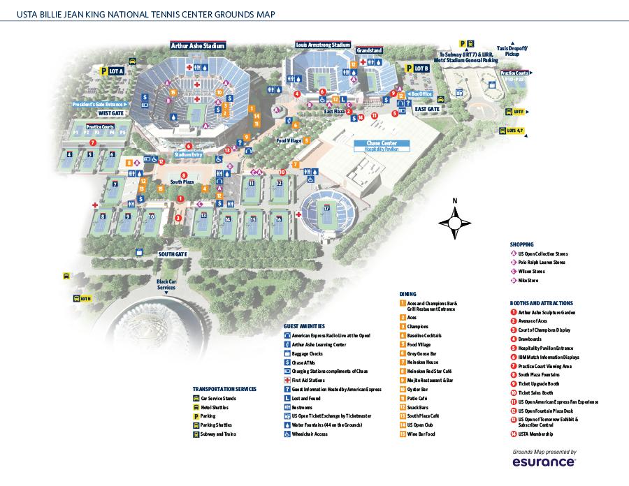 2015groundsmap US Open 2015 Pinterest Tennis Association - Us Open Tennis Map