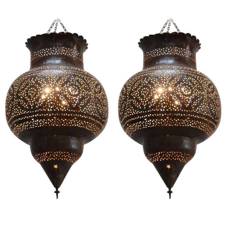 Large Moroccan Brass Hanging Lamp