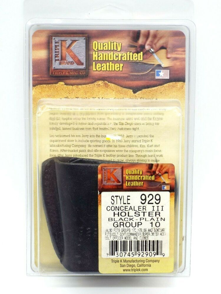 TRIPLE K #929 CONCEALER III LEATHER CONCEALEMENT HOLSTER FITS 1911 AND SIMILAR