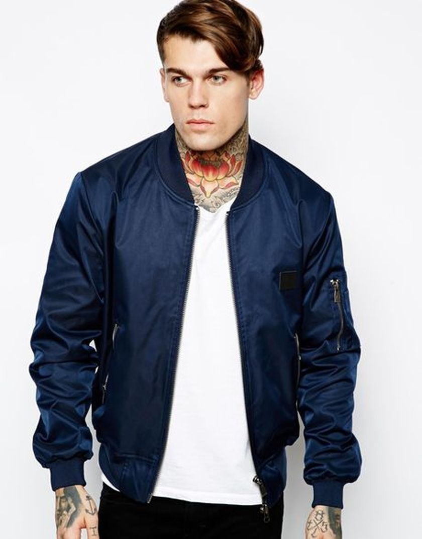 Bomber Jacket Offers You Ruggedly Handsome Appearance For Instance A Bomber Jacket Made From Leather Blue Bomber Jacket Men Bomber Jacket Outfit Bomber Jacket [ 1071 x 840 Pixel ]