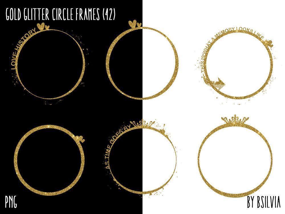 Gold Glitter Circle Frames Clipart, Gold Glitter Design Elements ...