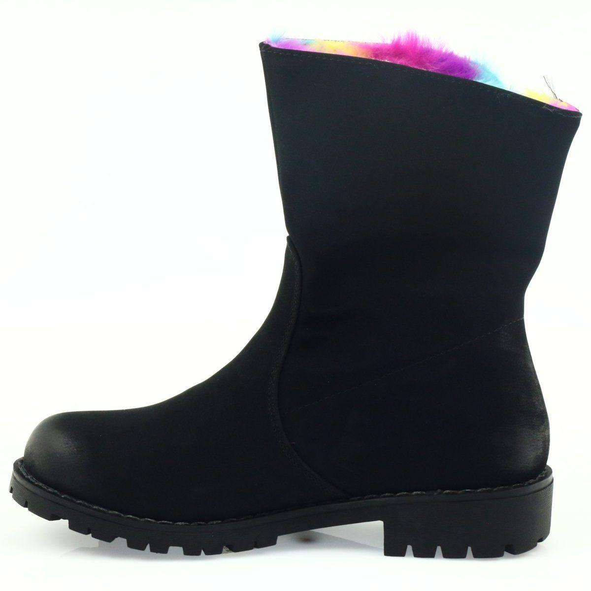 Sergio Leone Kozaczki Z Kolorowym Futrem Na Suwak Czarne Wielokolorowe Boots Chelsea Boots Rain Boots