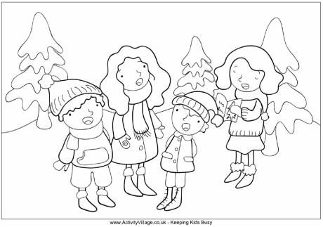 Carol Singers Colouring Page 2 Christmas Coloring Pages Free