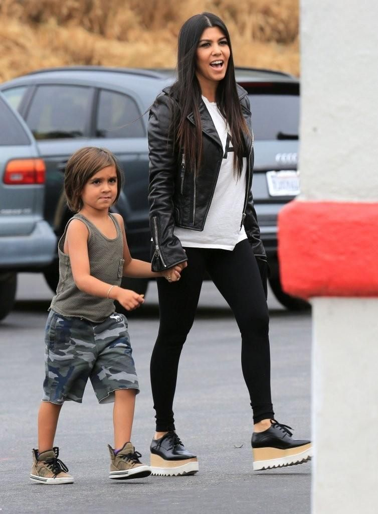 ef01ca970f2fa Kourtney Kardashian wearing Stella McCartney Paul Platform Oxford Shoes and  Balenciaga Classic Biker Jacket