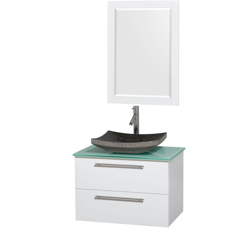 Wyndham collection amare in vanity in glossy white with glass