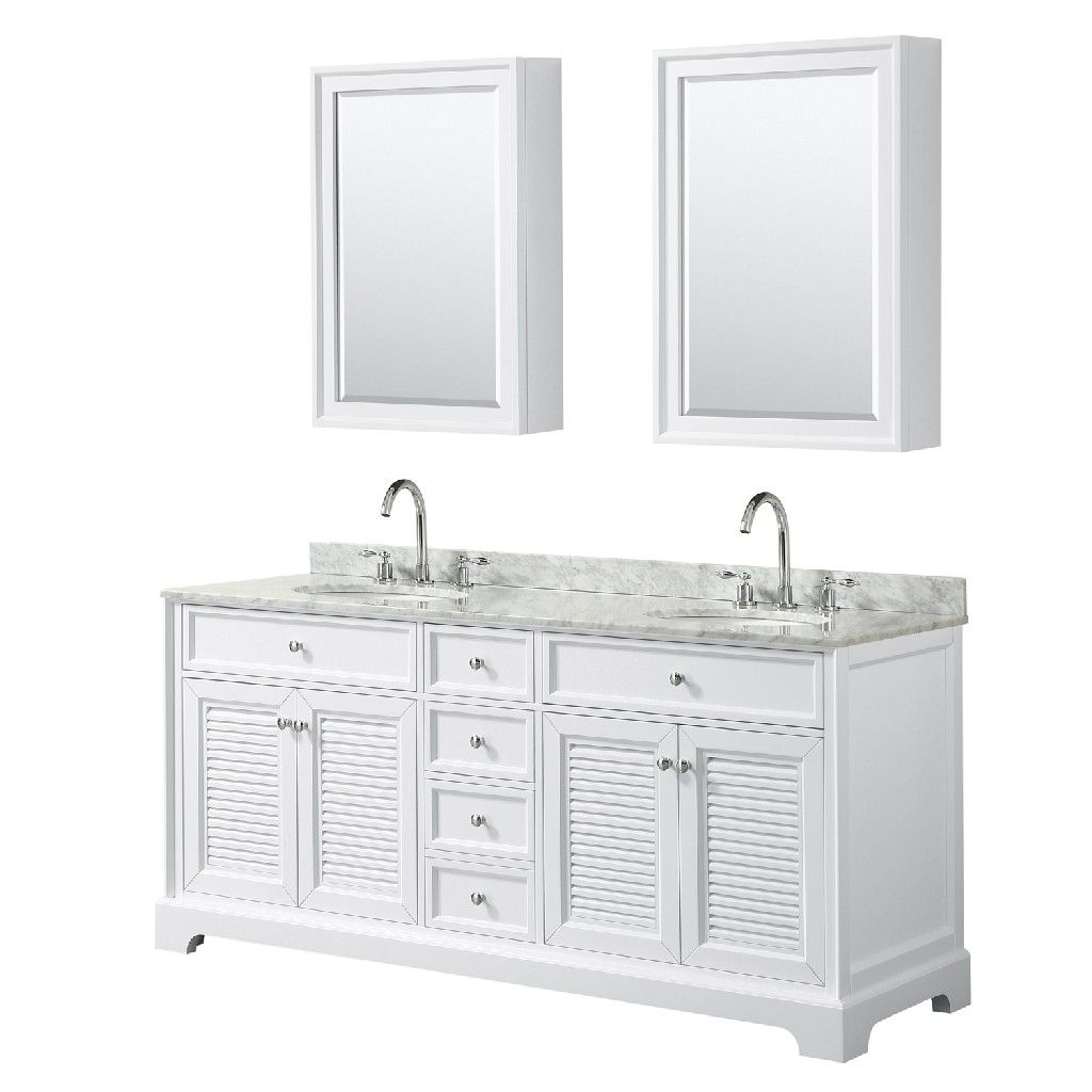 72 Inch Double Bathroom Vanity In White White Carrara Marble Countertop Undermount Oval Sinks And Medi In 2021 Marble Vanity Tops Double Sink Bathroom Vanity Vanity