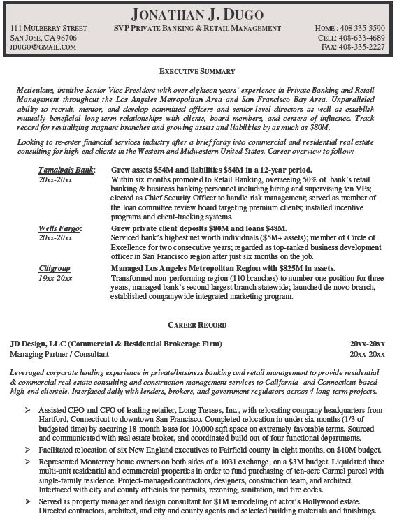 Private Banker Resume Examplecareer Resume Template Career Resume Template Manager Resume Retail Manager Resume