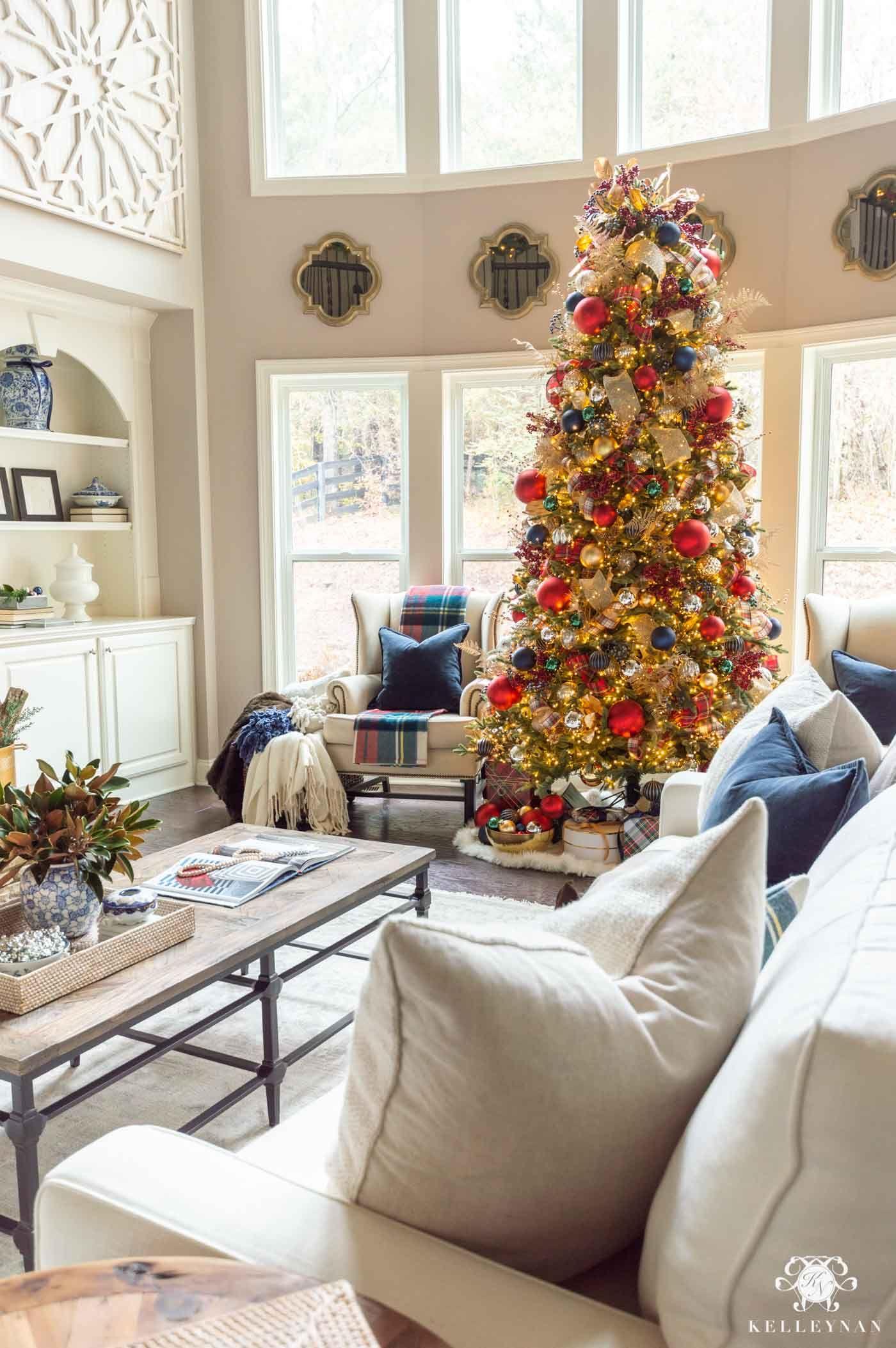 Tartan Plaid Themed Christmas Home Tour Kelley Nan In 2020 Traditional Christmas Decorations Plaid Christmas Decor Christmas Decorations For The Home