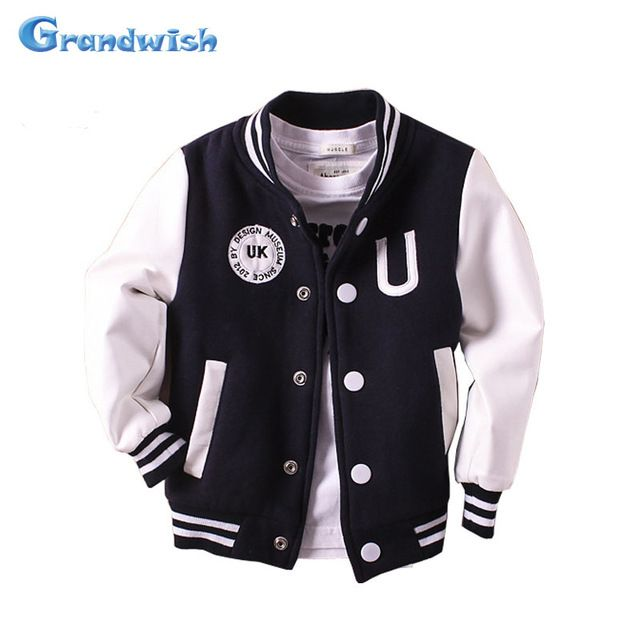 711ec2179c7b Check current price Grandwish Boys Baseball Coats Girls PU Leather ...