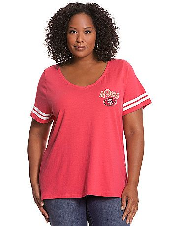 V-neck tee screams team spirit on game day and beyond with a San Francisco 49ers graphic. #LaneBryant #LaneBryantNFL