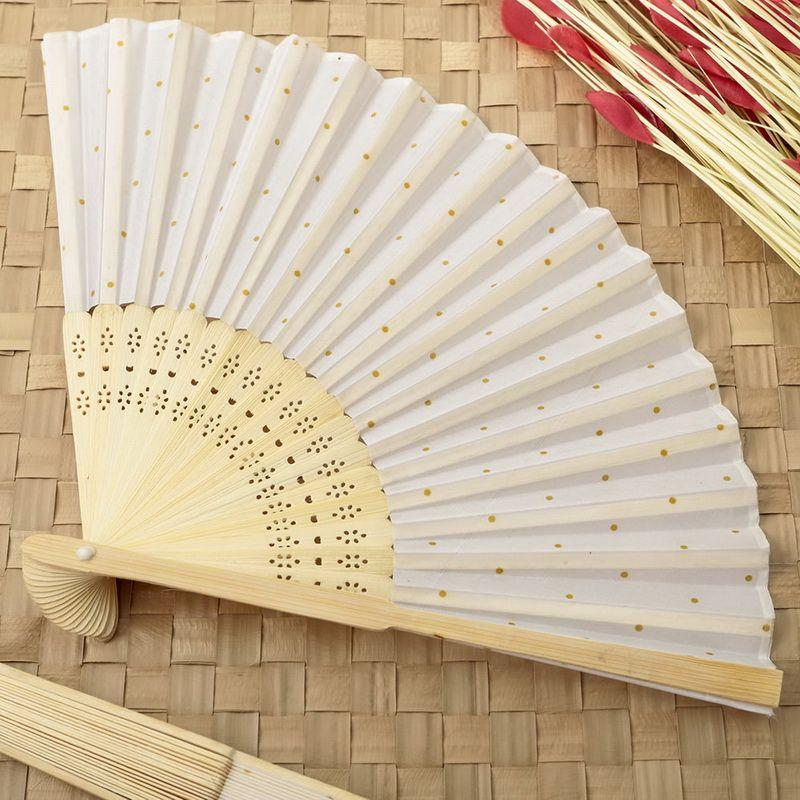 Gold Dot Silk Folding Fan Favor Wedding Handpaddle Fans