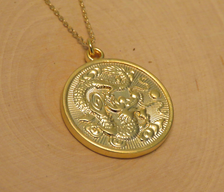 Gold Dragon Medallion Necklace Asian Gold Pendant Gold Etsy Gold Jewelry Gift Medallion Necklace Gold Dragon