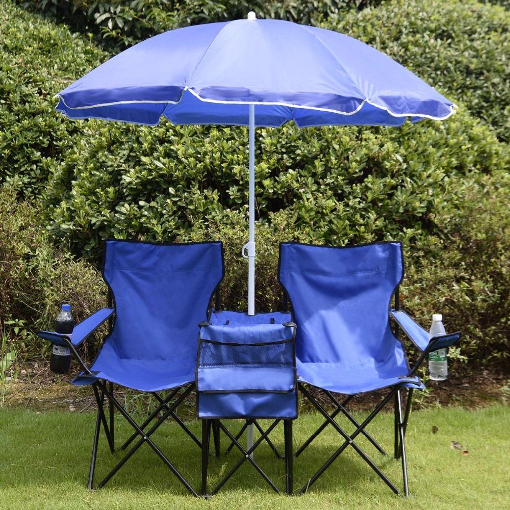 Portable folding picnic double chair umbrella cooler table