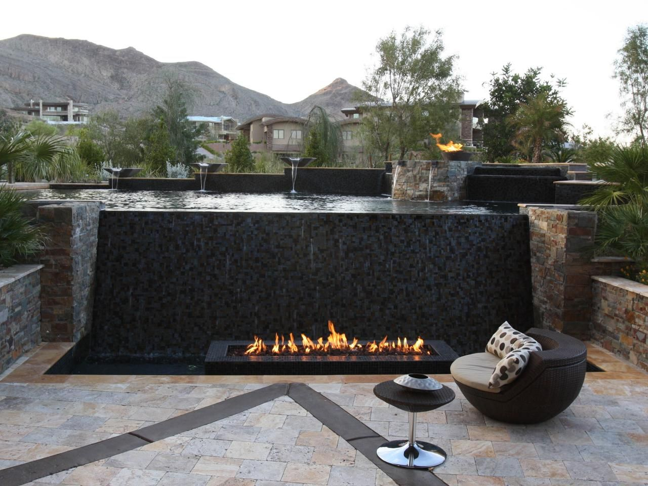 Dramatic Infinity Pool With Waterfall And Fire Features Pool Waterfall Fire Features Pool Designs
