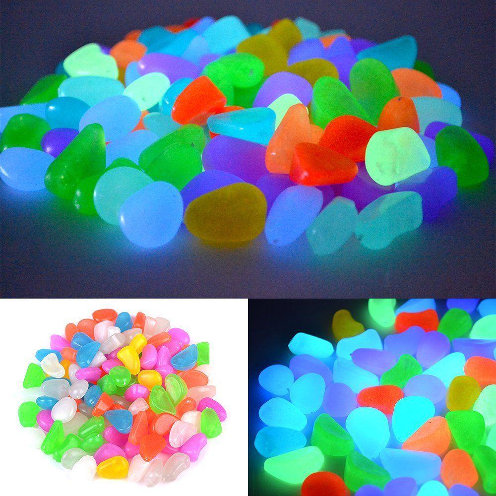 100× Blau Stein Leuchtsteine Leuchtkiesel leuchtende Kiesel Gehweg Garden