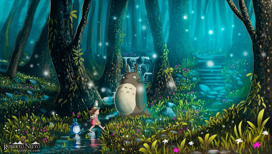 Totoro and Mei - Excursion by *Syntetyc on deviantART