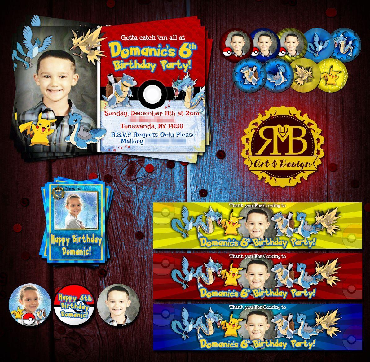 Pokémon Themed birthday package designed by RMB Art & Design https://www.facebook.com/RMBArtAndDesign/
