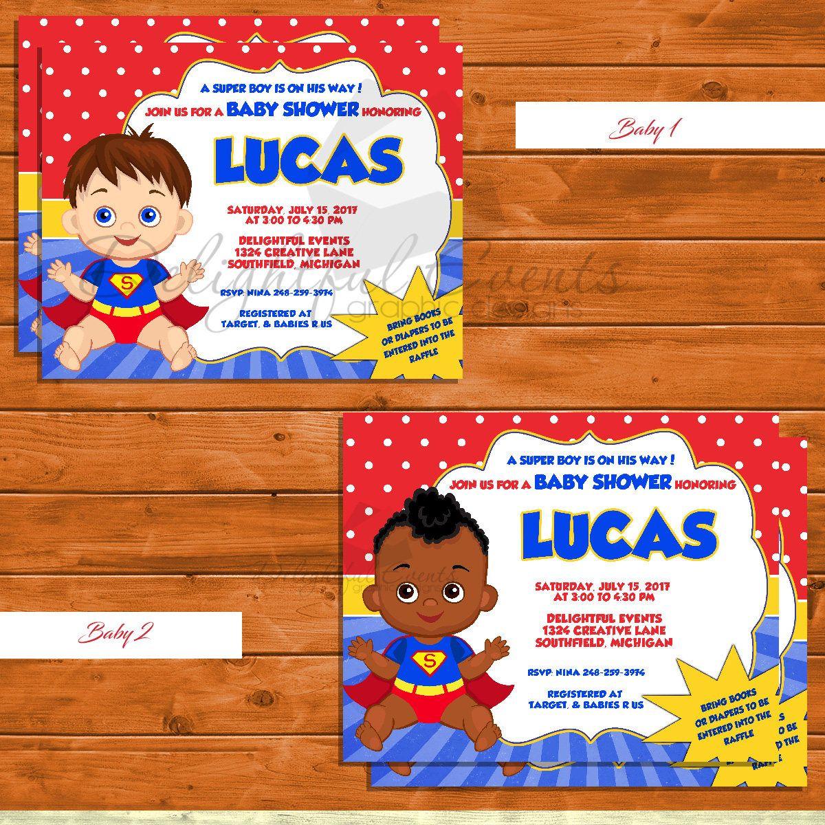 Super Baby Boy, Super Hero Baby Shower Invitation by ...