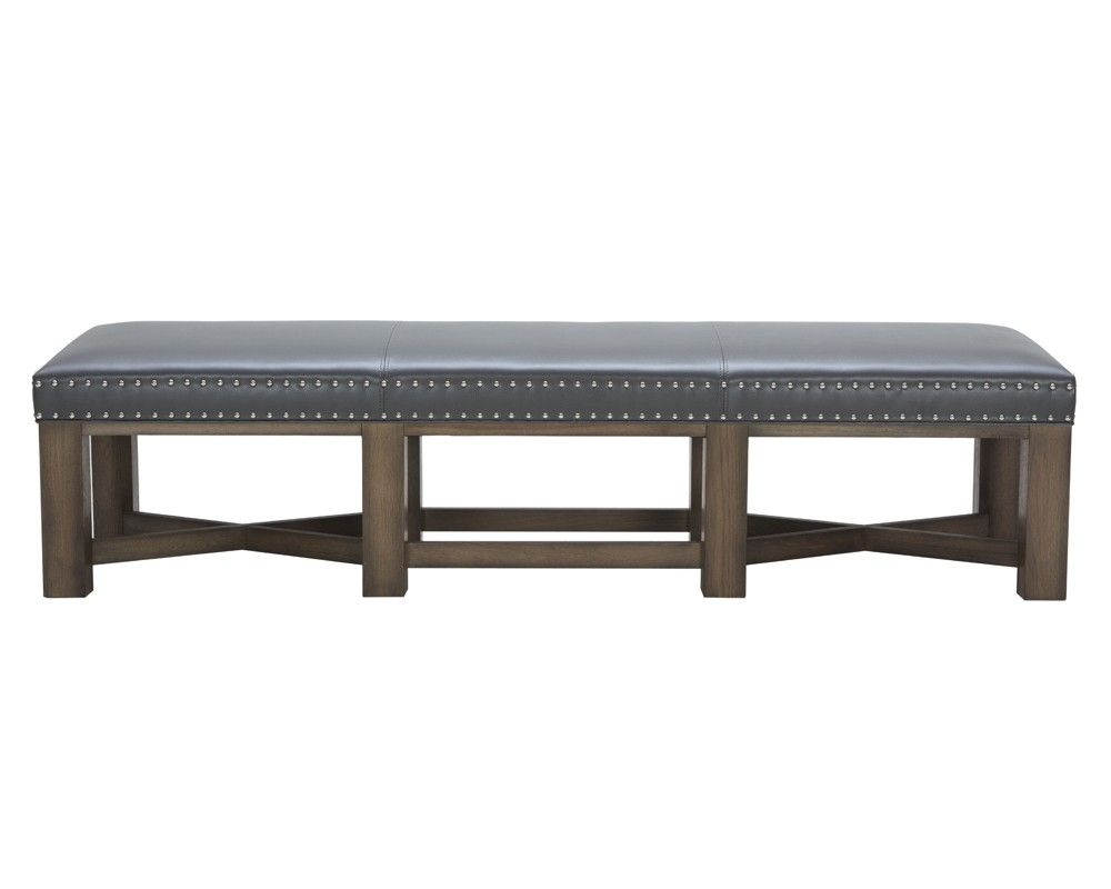 BRIXTON BENCH - GREY LEATHER - Benches - Ottomans And Benches ...