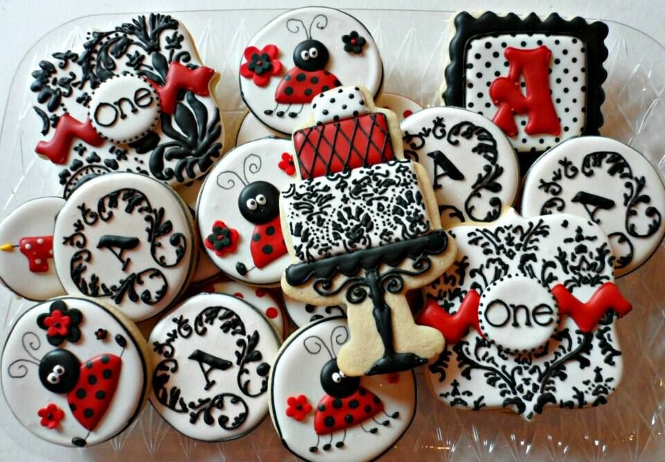 Ladybug cookies for Audrey's 1st Bday party