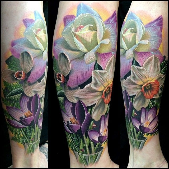 Violet, rose, daffodil tattoo -   Flower tattoos ...