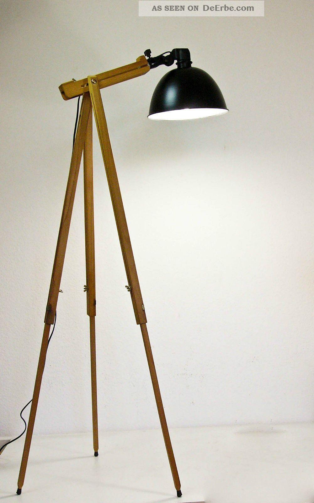 Fancy Tripod Stehlampe Scheinwerfer Stehleuchte Dreibein Holz Stativ Lampe Retro er Bild