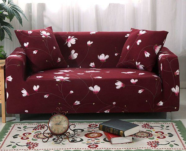 Burgundy Sofa Covers for Home Printed Flowers 1 seater,2 ...