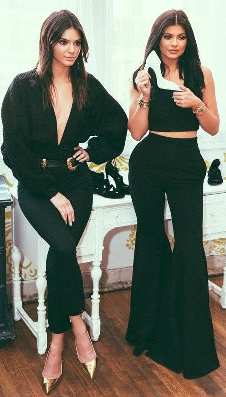 #summer #kendallandkylie #outfits |  Kendall Sisters In Black