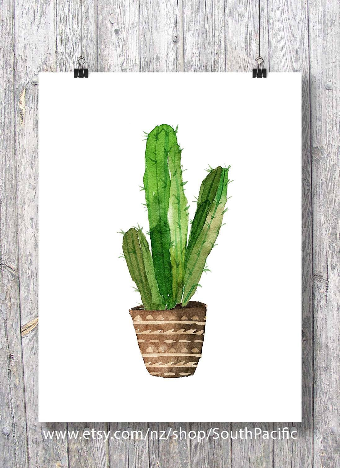 Printable Art Watercolor Cacti Art Print Watercolor Cactus Hand Painted Watercolor Cactus Cosy Decor Print Cactus Art Cactus Art Print Cactus Paintings