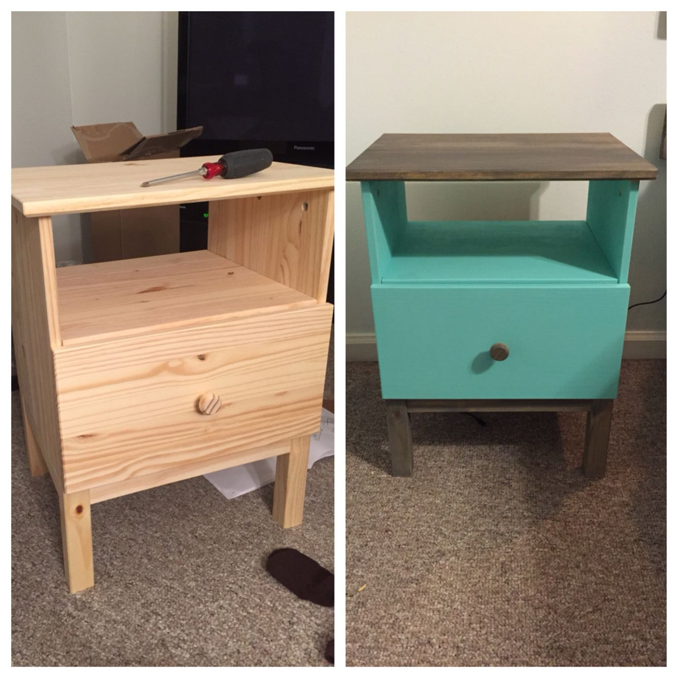 this is the ikea tarva nightstand shown with paint and a stained top