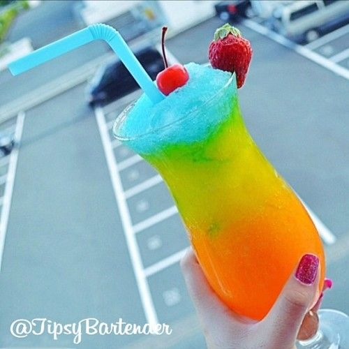 Mango Freeze. Each layer is blended with ice - Bottom Layer: Grenadine, Mango…