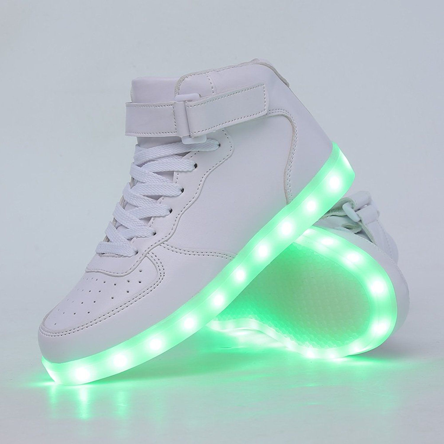 f14b1292597 Amazon.com | CIOR High Top Led Light Up Shoes 11 Colors Flashing  Rechargeable Sneakers for Mens Womens Girls Boys, 101B, 02, 32 | Fashion  Sneakers