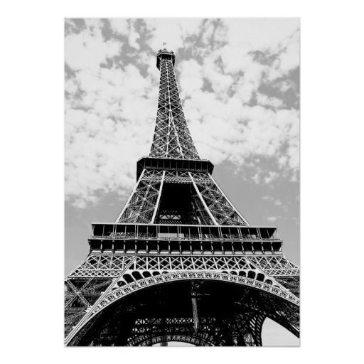 Black white eiffel tower paris travel