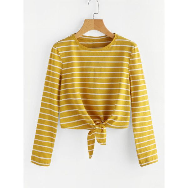 b8cd3a79dbea SheIn(sheinside) Knot Front Striped Tee ( 14) ❤ liked on Polyvore featuring  tops