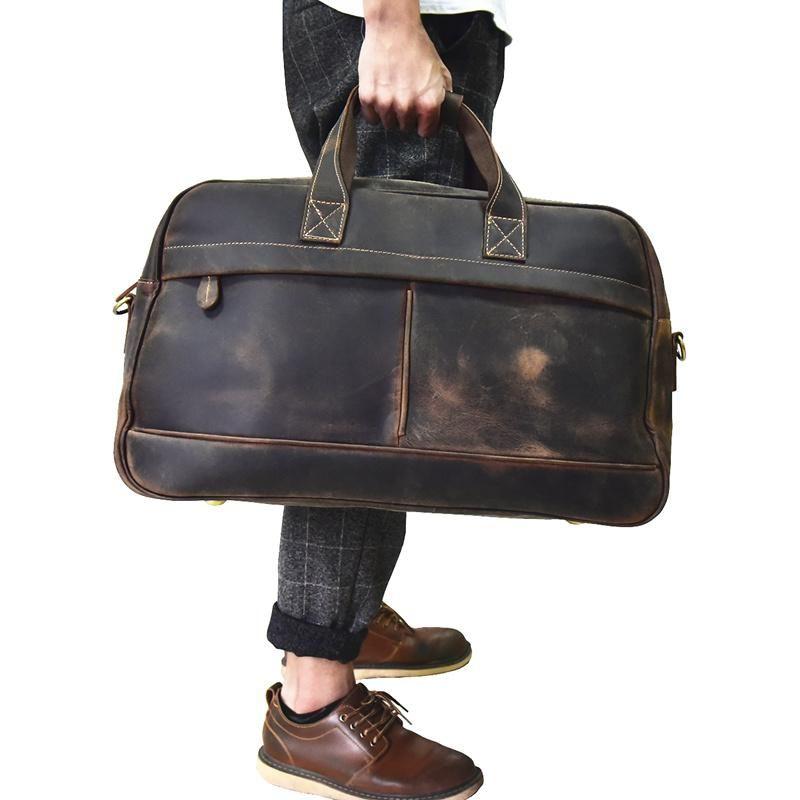 a86105eb4 Genuine Leather Mens Cool Weekender Bag Travel Bag Duffle Bags Overnig –  iwalletsmen