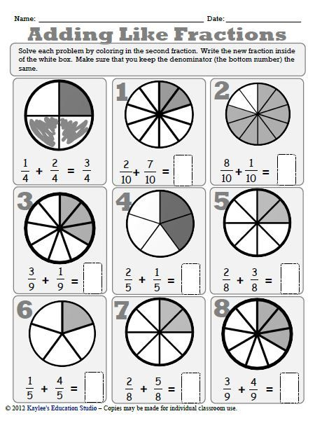 Adding And Subtracting Like Fractions Workbook Fractions Math Fractions Math Fractions Worksheets