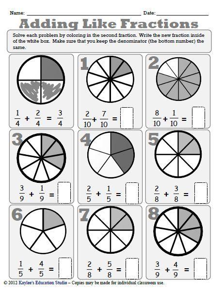 Adding Like Fractions Worksheet